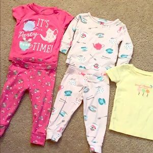 6 month girl tea party pajama bundle!💗 carters